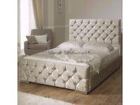 BRAND NEW *** CHESTERFIELD SLEIGH STYLE UPHOLSTERED DESIGNER BED FRAME CRUSHED VELVET SALE !!!