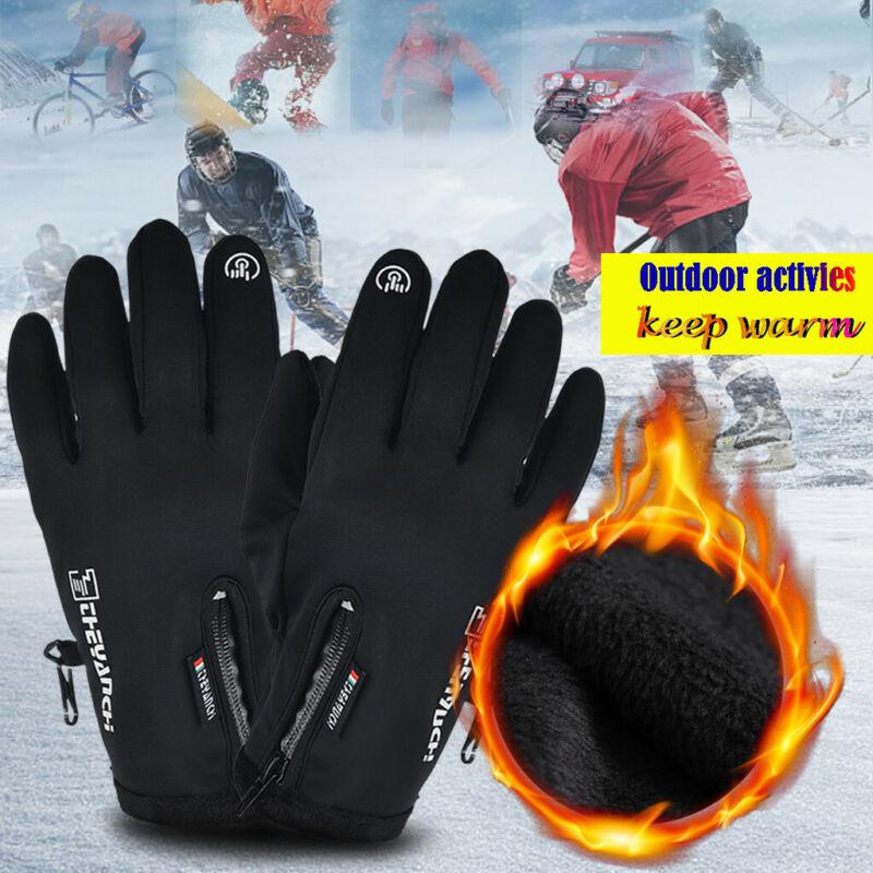 Touch Screen Gloves Zipper Thermal Winter Sports Skiing Warm Mittens Men Women
