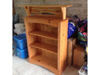 solid pine bookcase and matching wall shelf