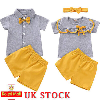 Brother and Sister Clothes Newborn Baby Girl Boy Top + Short Pants Outfit Set