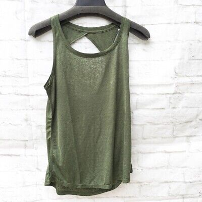 Icyzone Womens Athletic Top Olive Green Sleeveless Scoop Nec