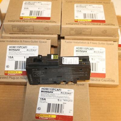 One New Square D Hom115pcafi 1p 15 Amp Arc Fault Afi Plug On Neutral Breaker