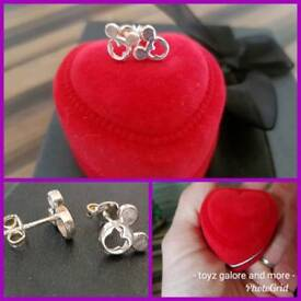 Sterling silver Mickey mouse earings gift boxed