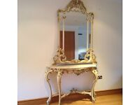 'SILIK' baroque style console table and wall mirror