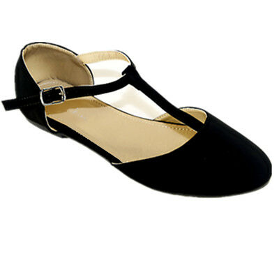 New Women  Black  Mary Jane Ankle T- Strap  Pointy Toe Ballet Flat  Shoe #2889