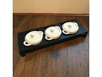 STAUB 3 Mini Ceramic Casseroles with Wood Stand