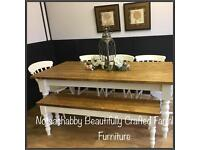 HANDMADE NEW 6FT PINE PLANK TOP FARMHOUSE TABLE BENCH AND CHAIRS