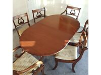 Dining table and chairs (antique)