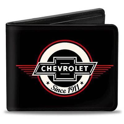 Men Wallet Bifold Retro Chevrolet Impala Camaro Silverado 1911 Black Red Ivory