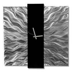 Large Silver Modern Wall Clock, Contemporary Metal Wall Art by Jon Allen