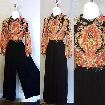 Vintage Retro 1960s 70s paisley wide leg palazzo pants jumpsuit