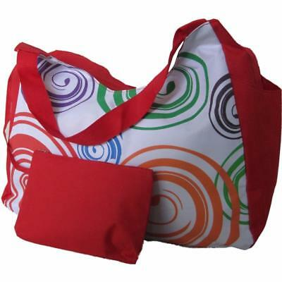 Large Beach Bag Red with Orange Swirls, big huge pockets tote shopping shoulder ()
