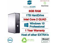 FAST DESKTOP PC INTEL QUAD CORE 8GB RAM 1TB HDD WIFI WINDOWS 10 DELL COMPUTER