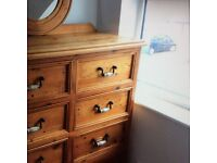 Bedroom Large Chest of Drawers, Bed Side Cabinet Mirror Reclaimed Wood Used