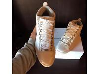 Balenciaga Arena High Top Creased Calfskin Leather white Men's Sneakers