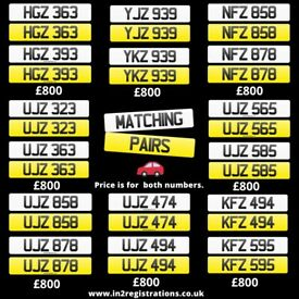 Matching pairs of Short NI Number Plates from £800 - Cherished Personal Private Registration plates