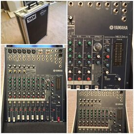 Yamaha MG 124 CX mixer with built in effects and flight case