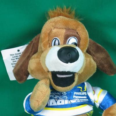NEW AARONS RENTS PLUSH LUCKY DOG NASCAR RACING MASCOT SALO PRIZE GIVEAWAY TOY