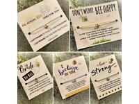 🐝 BUMBLEBEE COLLECTION 🐝 Make A Wish Bracelets, Charm Bracelet, Gift, Be Happy, Be Strong, Bride