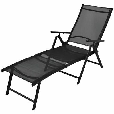 vidaXL Folding Sun Lounger Aluminium 178x63.5x96 cm Black Outdoor Garden Bed