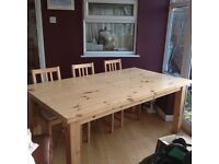 Pine Table and 6 pine chairs