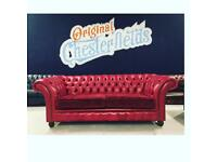 Ex-Display Brand New Chesterfield 3 Seater Sofa Premium Leather / Velvet