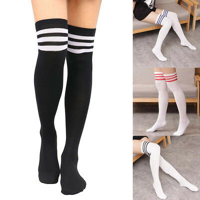 Women Soft Over Knee Extra Long Boot Knit Socks Thigh High Warm Striped Stocking - Striped Thigh High Socks