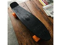 PENNY BOARD SKATEBOARD BLACK WITH ORANGE WHEELS USED ONCE
