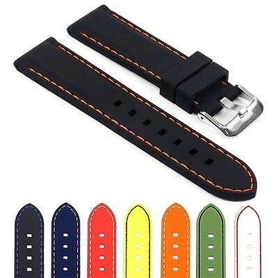 StrapsCo Silicone Rubber Waterproof Mens Watch Strap Divers Quick Release Band  Mens Rubber Band