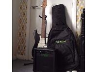electric guitar fender stratocaster starter set/kit amplifier case + more!