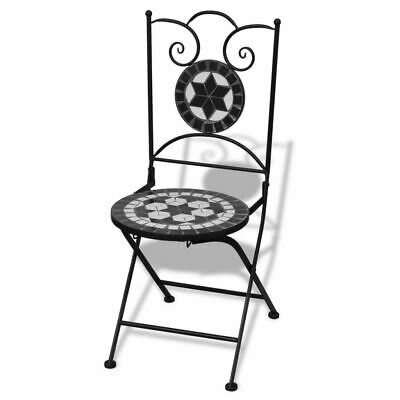 vidaXL Folding Bistro Chairs 2 pcs Ceramic Black and White