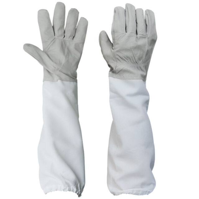 Beekeeping Protective Gloves with Vented Long Sleeves-- Grey and White WD