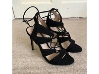 REDUCED • River Island Lace up Black Heels • UK 4 • Accepting Offers