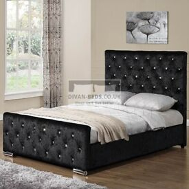 🔥🔥Perfect Bed Design🔥🔥 CHESTERFIELD CRUSHED VELVET DOUBLE BED FRAME SILVER, BLACK AND CREAM