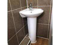 Corner standing sink available for pickup. Tap not included.