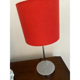 Table lamp red shade and chrome stand