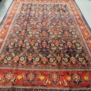 Mahal Semi-Antique Persian Rug, Handmade Carpet, Wool, Orange, Green, Black, Blue and Yellow Size: 10.3 X 7.2 ft