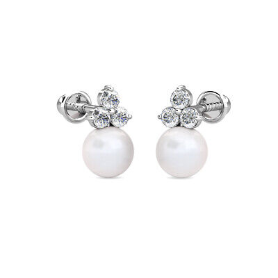 14k Gold Cultured Freshwater Pearl Earrings - 14K White Gold 0.30Ct Diamond & Cultured Freshwater Pearl Ball Stud Earrings
