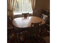 Dining table with 4 x chairs, lime oak, extending, £75ono