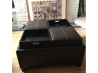 Brown Leather Storage Coffee Table/Seat