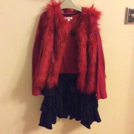 Debenhams girls dress and fur gillet age 9-10 years