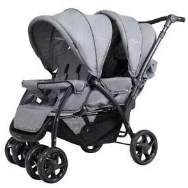 Baby Pram Double Seat Safety Adjustable Backrest Pushchair Stroller BB4946