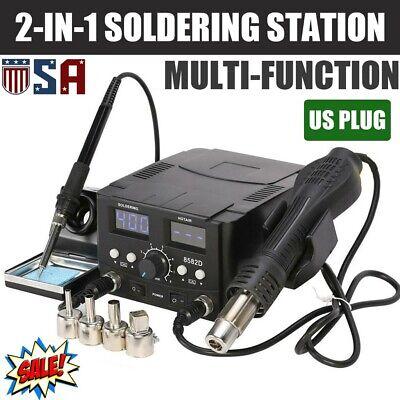 2 In 1 8582d Smd Soldering Station Iron Hot Air Gun Rework Station Digital Tool