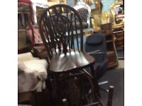 Vintage oak wheel back dining chair
