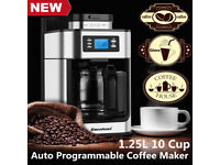 NEW 10-CUP AUTO STAINLESS BEANS COFFEE MAKER MACHINE ESPRESSO CAPPUCCINO LATTE 1.25L 5 BAR