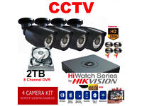 2TB HD CCTV Security Camera Kit. 8CH Hikvision DVR, 4 x HD Cameras ,Hard Drive, Cables, Full Kit.