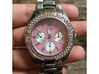 GUESS steel and pink watch