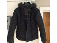 PER UNA Black padded coat with detachable hood