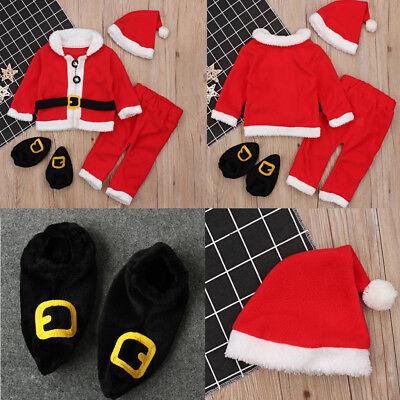 4tlg. Weihnachtsmannkostüm für Kinder -Unisex Babys Jungen (Weihnachtsmann Kostüm Für Mädchen)