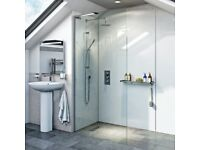 Wet room glass panel 700mm wide, brand new in box. With wall fixtures.